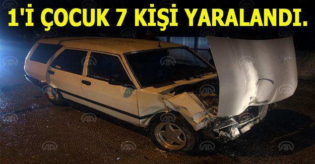 Düzce'de otomobil ile taksi çarpıştı: 7 yaralı