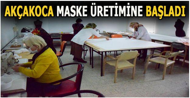 Akçakoca'da Halk Eğitim Merkezi maske üretimine başladı