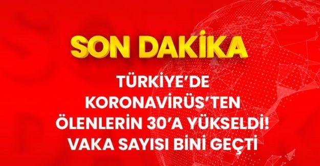 Son Dakika: Türkiye'de koronavirüsten ölenlerin sayısı 30'a, vaka sayısı ise 1236'ya yükseldi