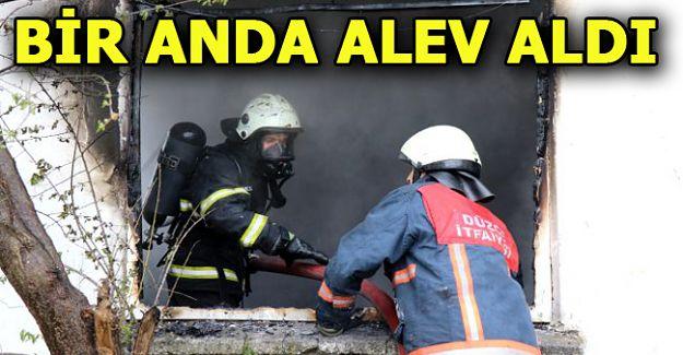 yangında 2 katlı evde hasar oluştu