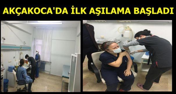 AKÇAKOCA'DA AŞILAMA BAŞLADI