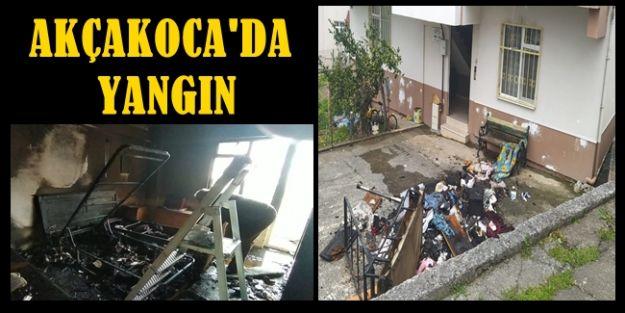 Akçakoca'da ev yangını 1 Yaralı (VİDEOLU)