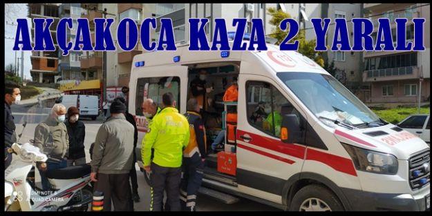 AKÇAKOCA'DA MOTOSİKLET KAZASI 2 YARALI