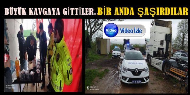 AKÇAKOCA POLİSİNE KAVGA İHBARIYLA SÜRPRİZ KUTLAMA
