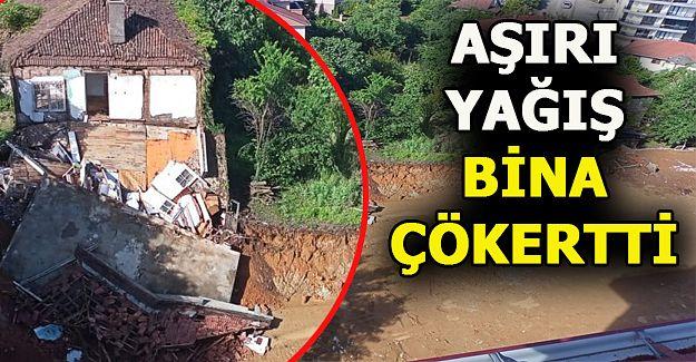 Akçakoca'da Şiddetli Yağış Yüzünden  Bina Çöktü