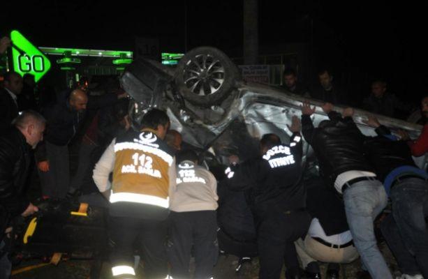 Ehliyetsiz Sürücünün Kullandığı Otomobil Devrildi: 6 Yaralı