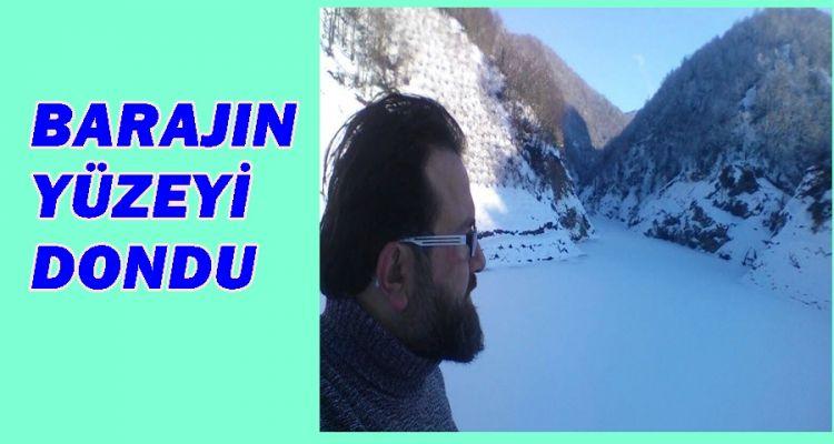 Nazmi Çiloğlu Barajı'nın yüzeyi dondu