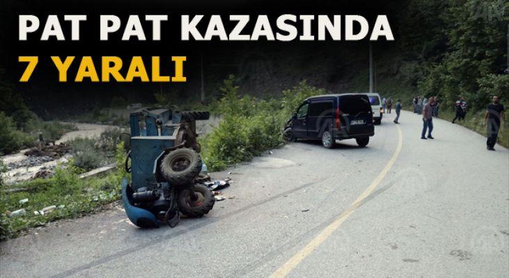 Tarım aracı ile hafif ticari araç çarpıştı: 7 yaralı