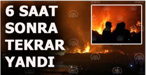 Düzce'de kereste fabrikasında yeniden başlayan yangın söndürüldü