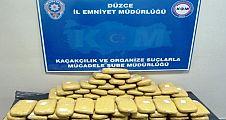 DÜZCE'DE 27 KİLO 569 GRAM EROİN ELE GEÇİRİLDİ