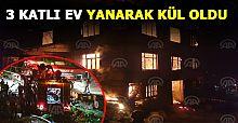 Düzce'de 3 katlı ev yandı: 2 yaralı