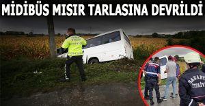 devrilen yolcu midibüsündeki 7 kişi yaralandı....